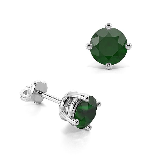 4 Claw Basket Setting Emerald Gemstone Stud Earrings