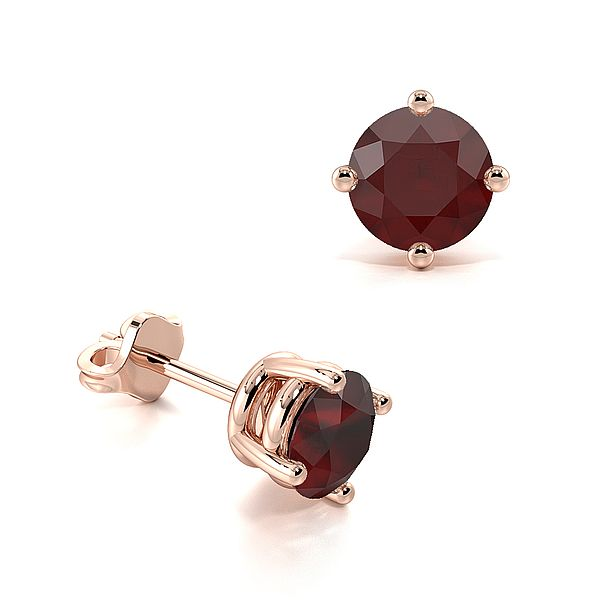 4 Claw Basket Setting Ruby Gemstone Stud Earrings