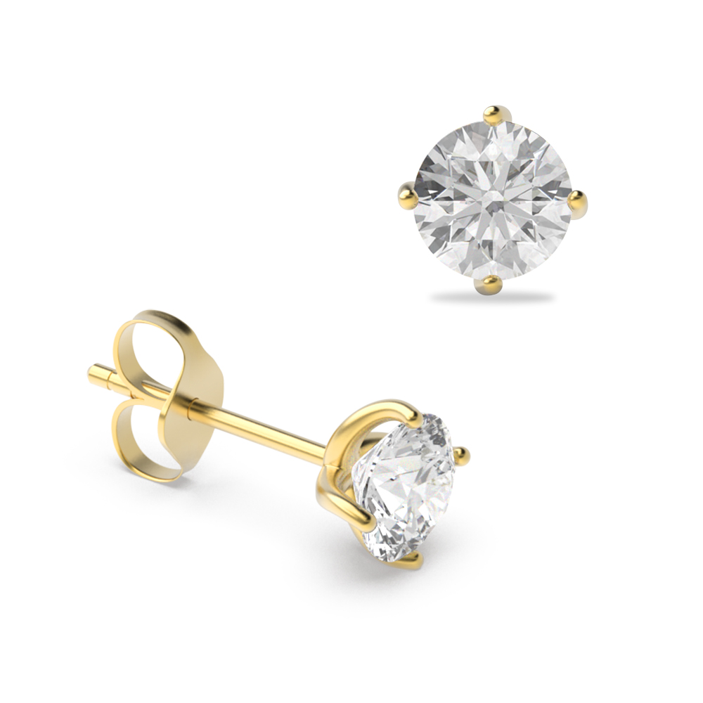 4 Claw Round Diamond Gold and Platinum Stud Earring