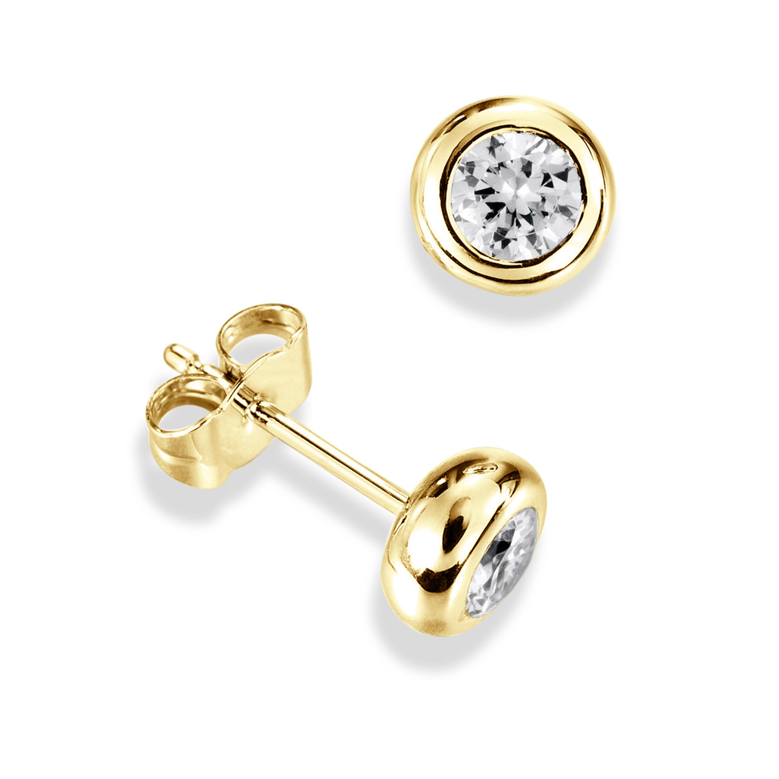 Bezel Set Single Diamond Earrings For Men White Gold in Round Shape