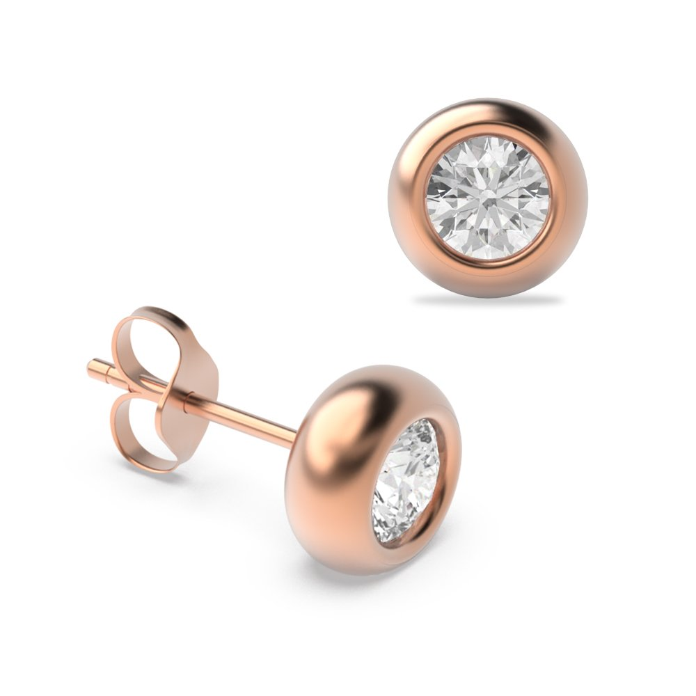 Bezel Set Diamond Stud Earrings Gold in Round Shape