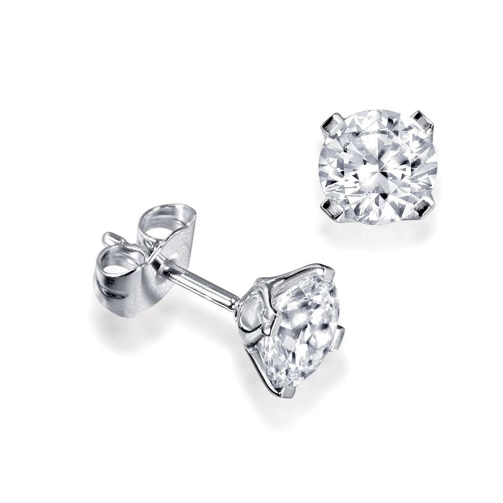 Platinum, 18ct & 9ct Gold Single Diamond Stud Earrings For Men