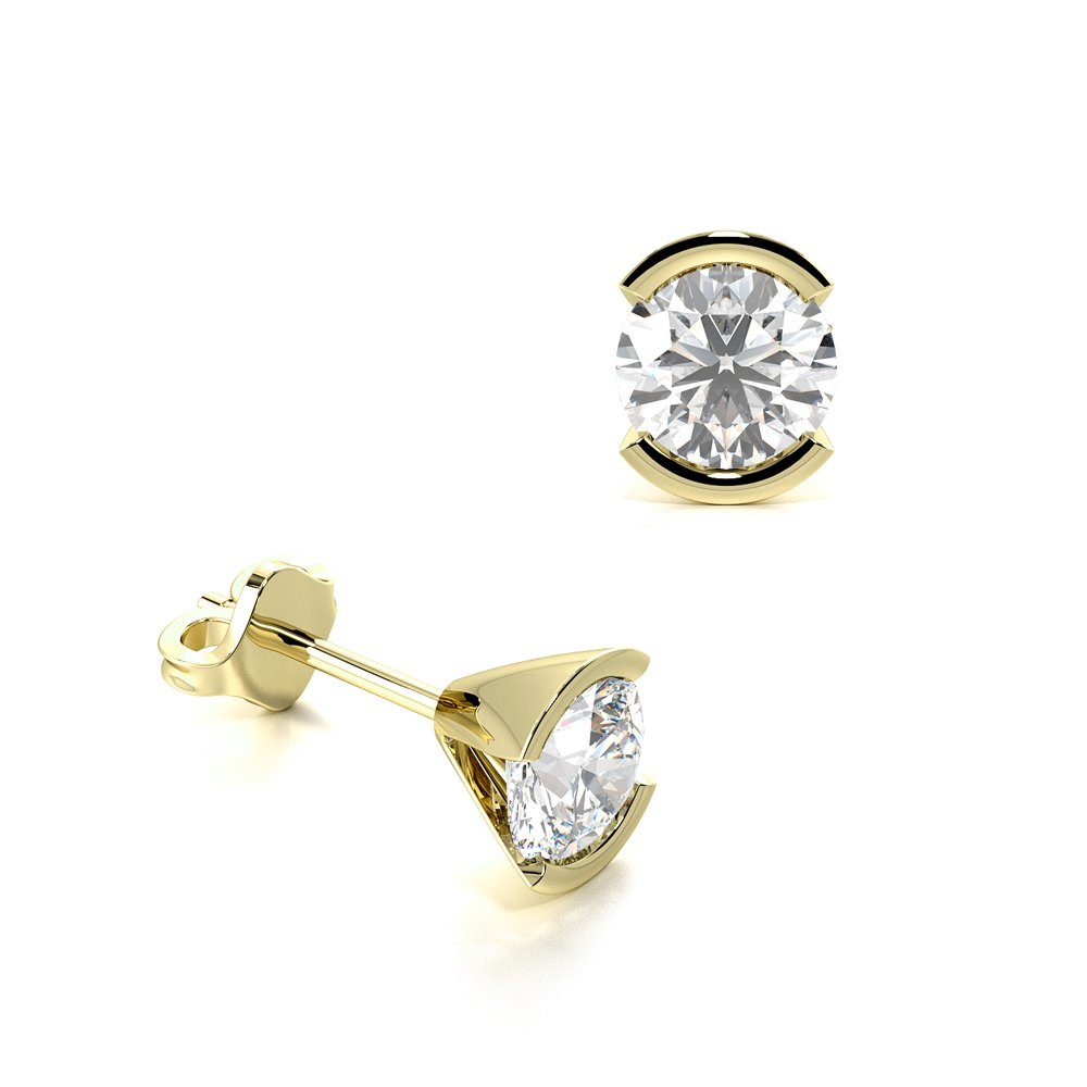 Semi Bezel Set Round Diamond Stud Earrings on Sale