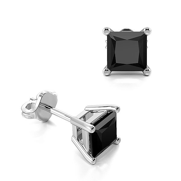 Claw Setting Square Black Diamond Stud Earrings