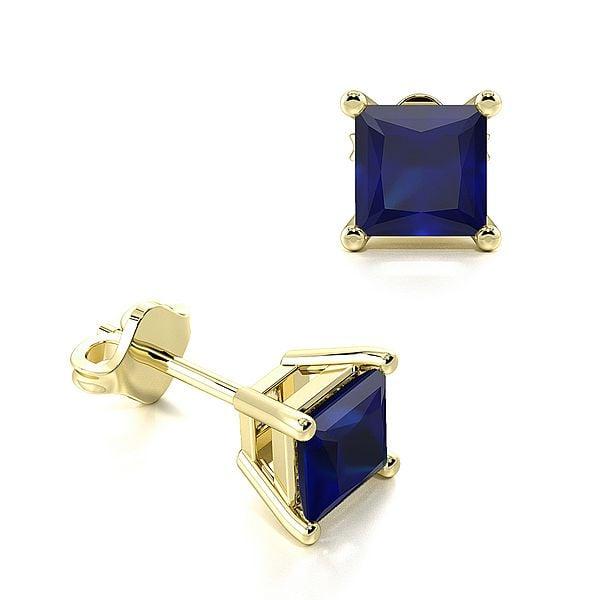 Claw Setting Square Blue Sapphire Gemstone Stud Earrings