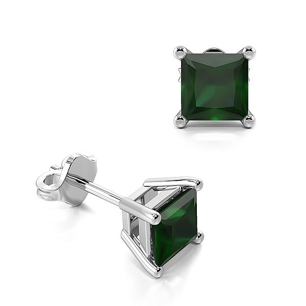 Claw Setting Square Emerald Gemstone Stud Earrings
