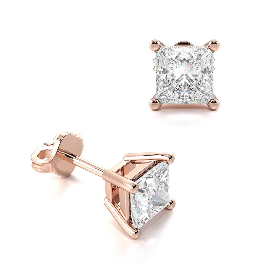 Princess Single Diamond Stud Earrings For Men for women