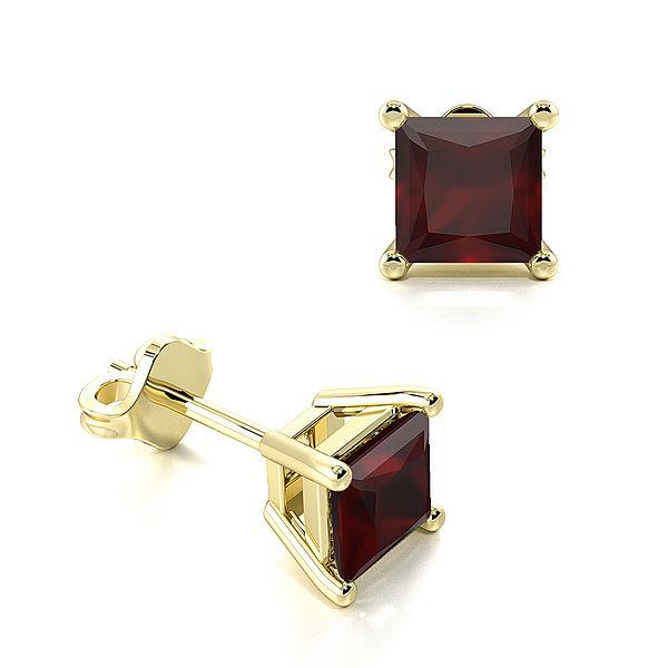 Claw Setting Square Ruby Gemstone Stud Earrings