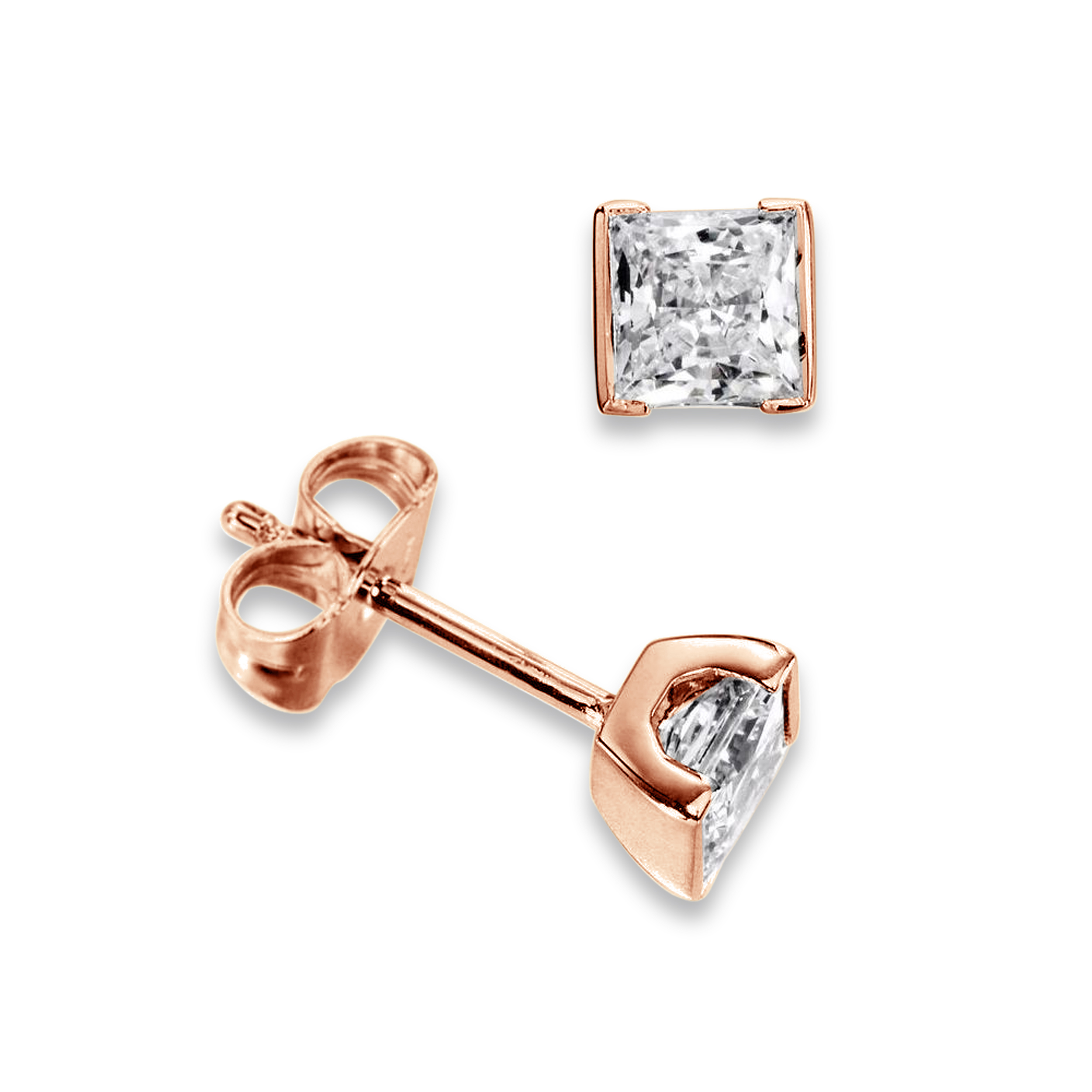 Tension Set Princess Diamond Stud Earrings for women