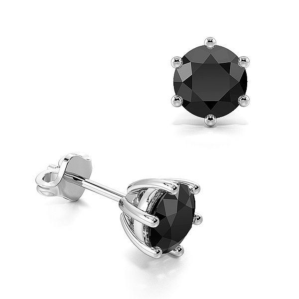 Six Claws Round Black Diamond Stud Earrings
