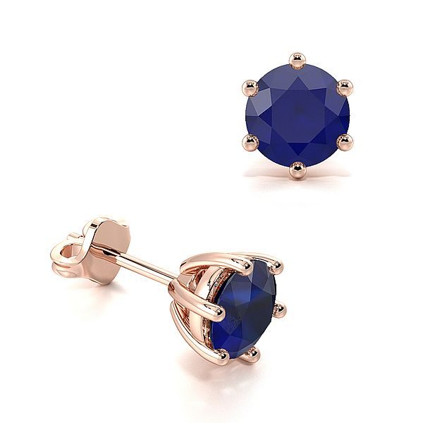 Six Claws Round Blue Sapphire Gemstone Stud Earrings