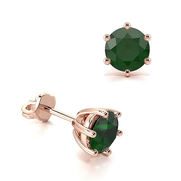 Six Claws Round Emerald Gemstone Stud Earrings