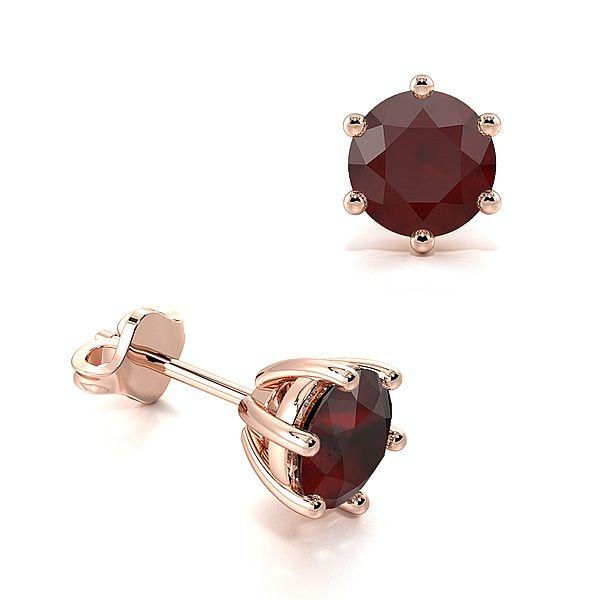 Six Claws Round Ruby Gemstone Stud Earrings