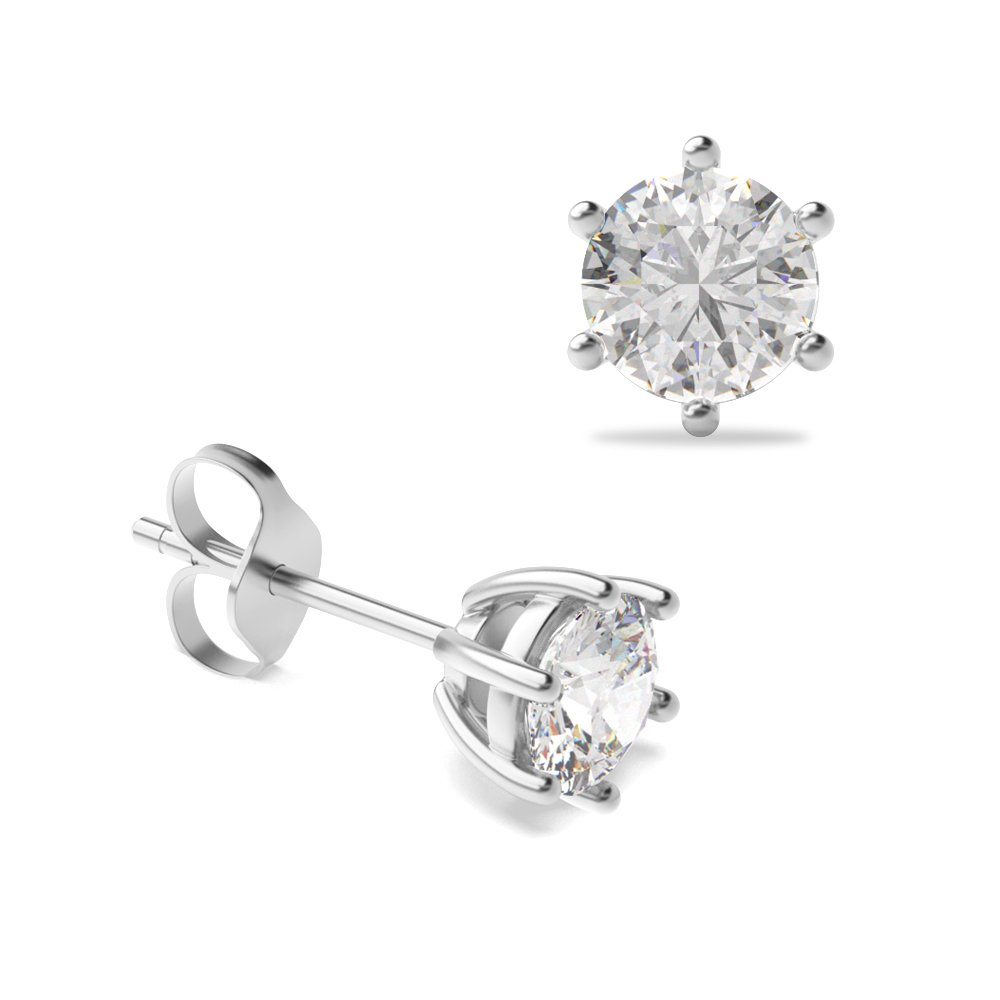 03eeb0e24e39e 6 Claw Round Diamond White Gold Stud Earring