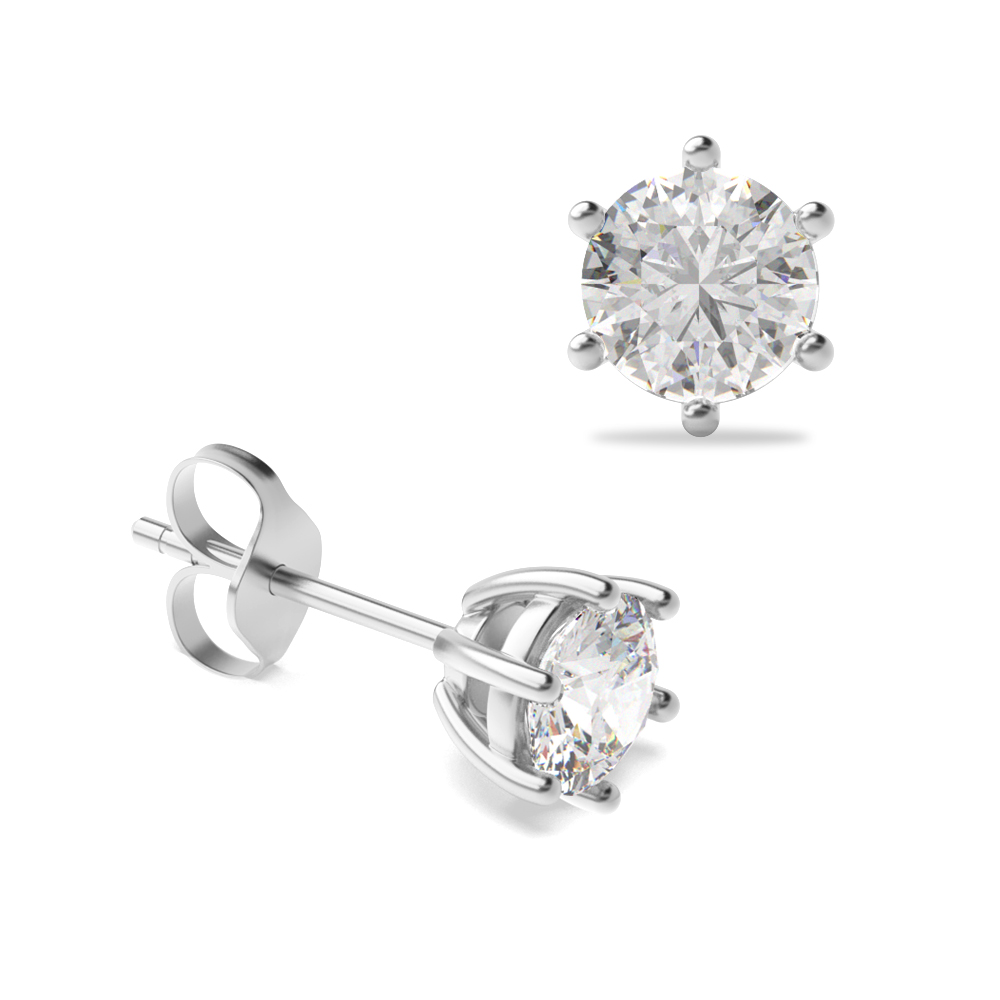 6 Claw Round Diamond White Gold Stud Earring