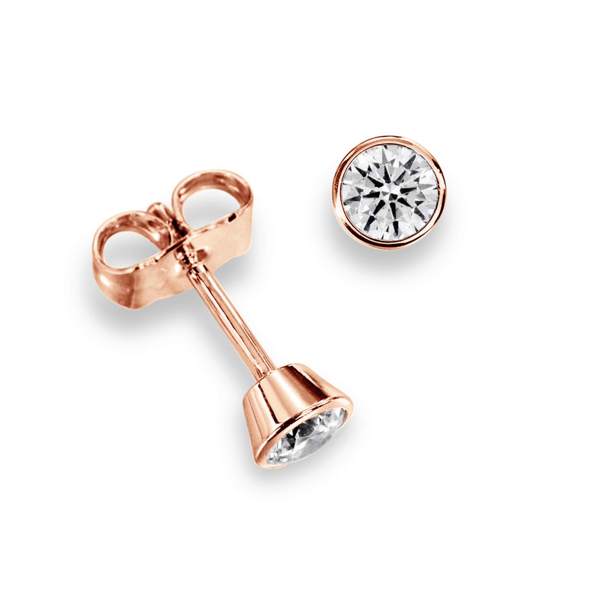 Bezel Set Rose Yellow Or White Gold Diamond Stud Earrings
