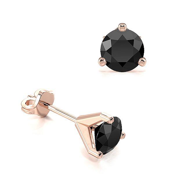 3 Claws Open Setting Round Black Diamond Stud Earrings