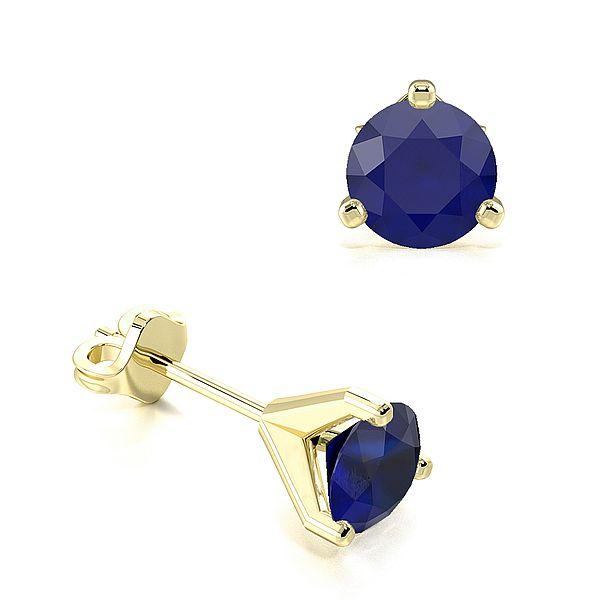 3 Claws Open Setting Blue Sapphire Gemstone Stud Earrings