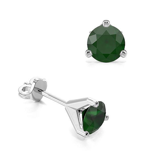 3 Claws Open Setting Emerald Gemstone Stud Earrings