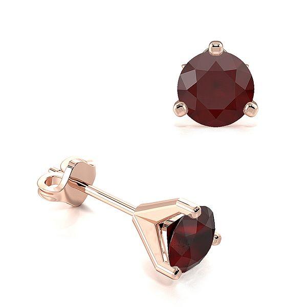 3 Claws Open Setting Ruby Gemstone Stud Earrings