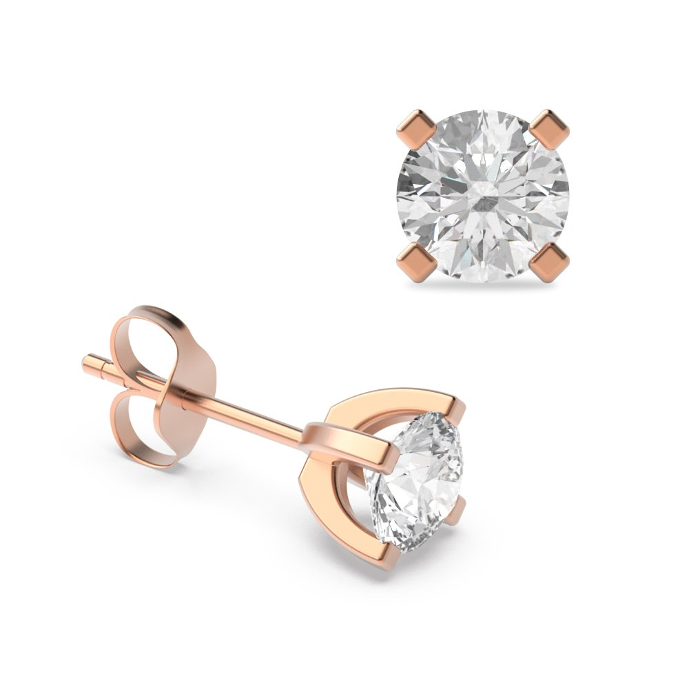 Real Diamond Stud Earrings in White Gold and Platinum