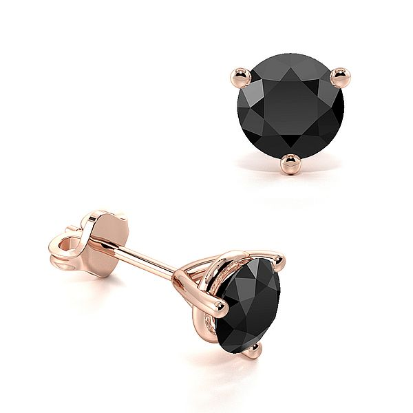 Three Claws Basket Setting Round Black Diamond Stud Earrings