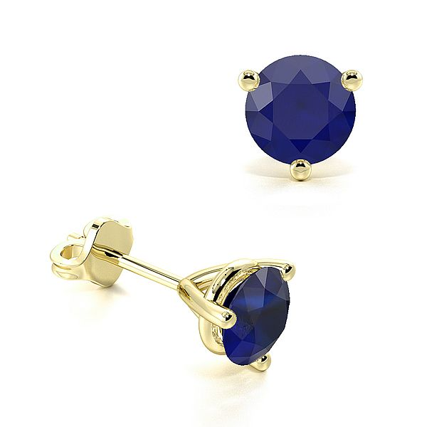 Three Claws Basket Setting Blue Sapphire Gemstone Stud Earrings