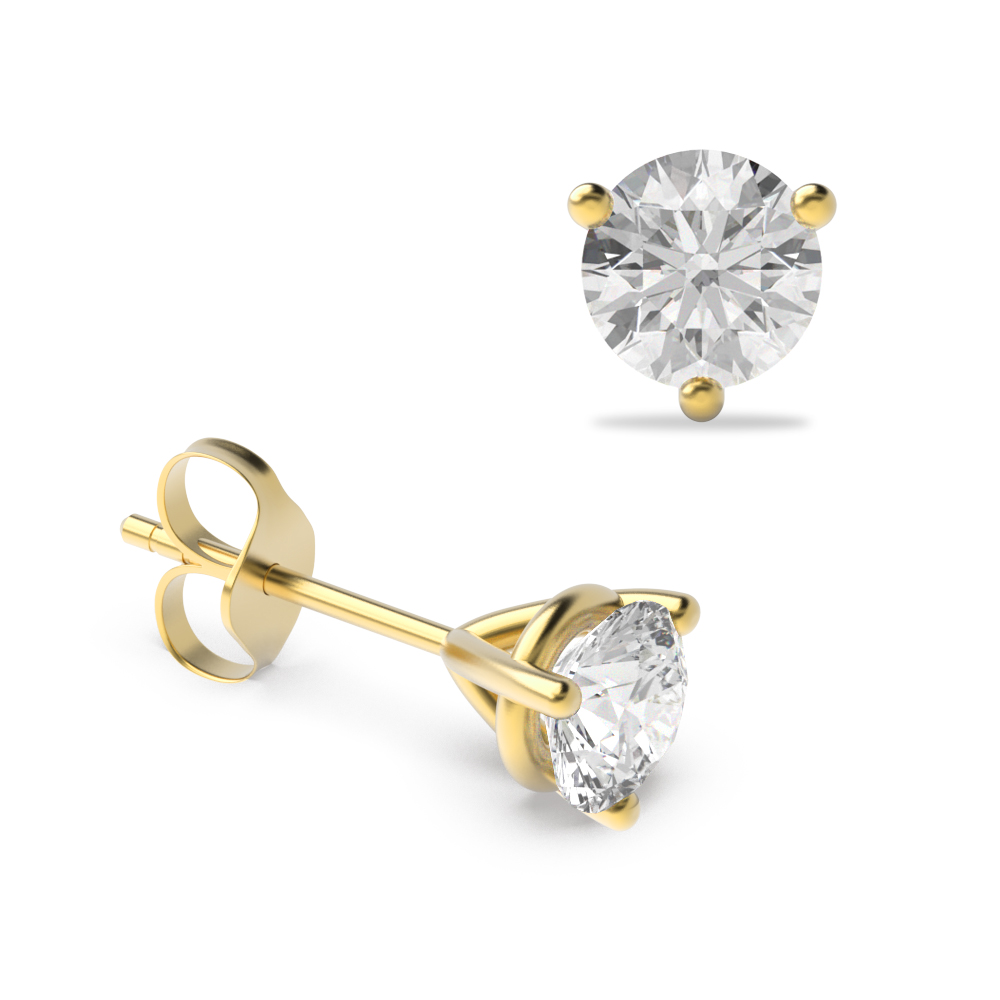 3 Claw Round Diamond Gold Diamond Stud Earring