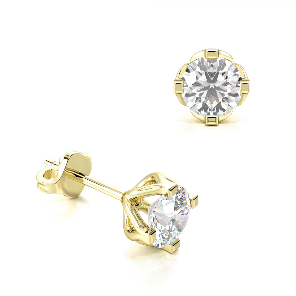 Prong Setting Flower Style Round Diamond Stud Earrings