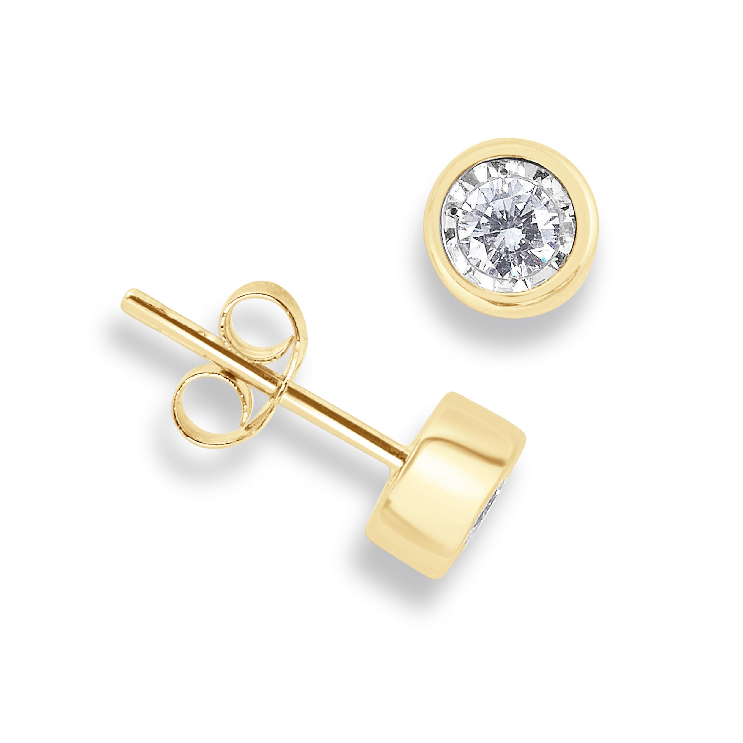 5805ab359cf60 Buy Bezel Setting Illusion Set Round Diamond Stud Earrings - Hand ...