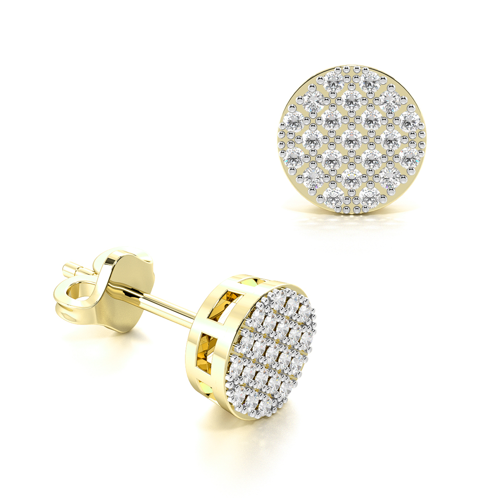 Pave Set carnation Diamond Stud Earrings For Mens & Women (6.5mm)