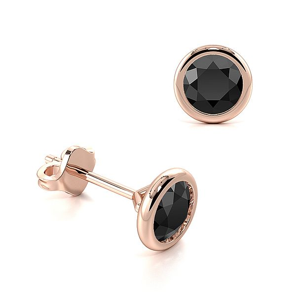 Open Rubover Setting Round Black Diamond Stud Earrings
