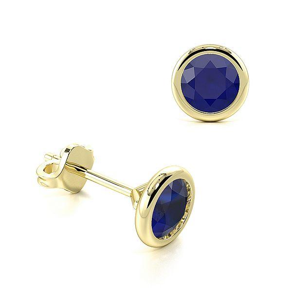 Open Rubover Setting Round Blue Sapphire Gemstone Stud Earrings