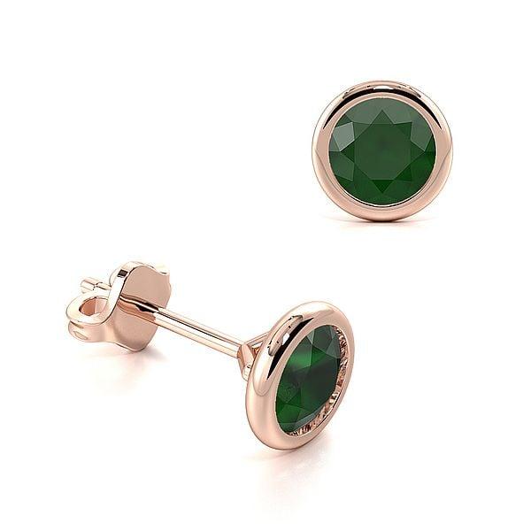 Open Rubover Setting Round Emerald Gemstone Stud Earrings
