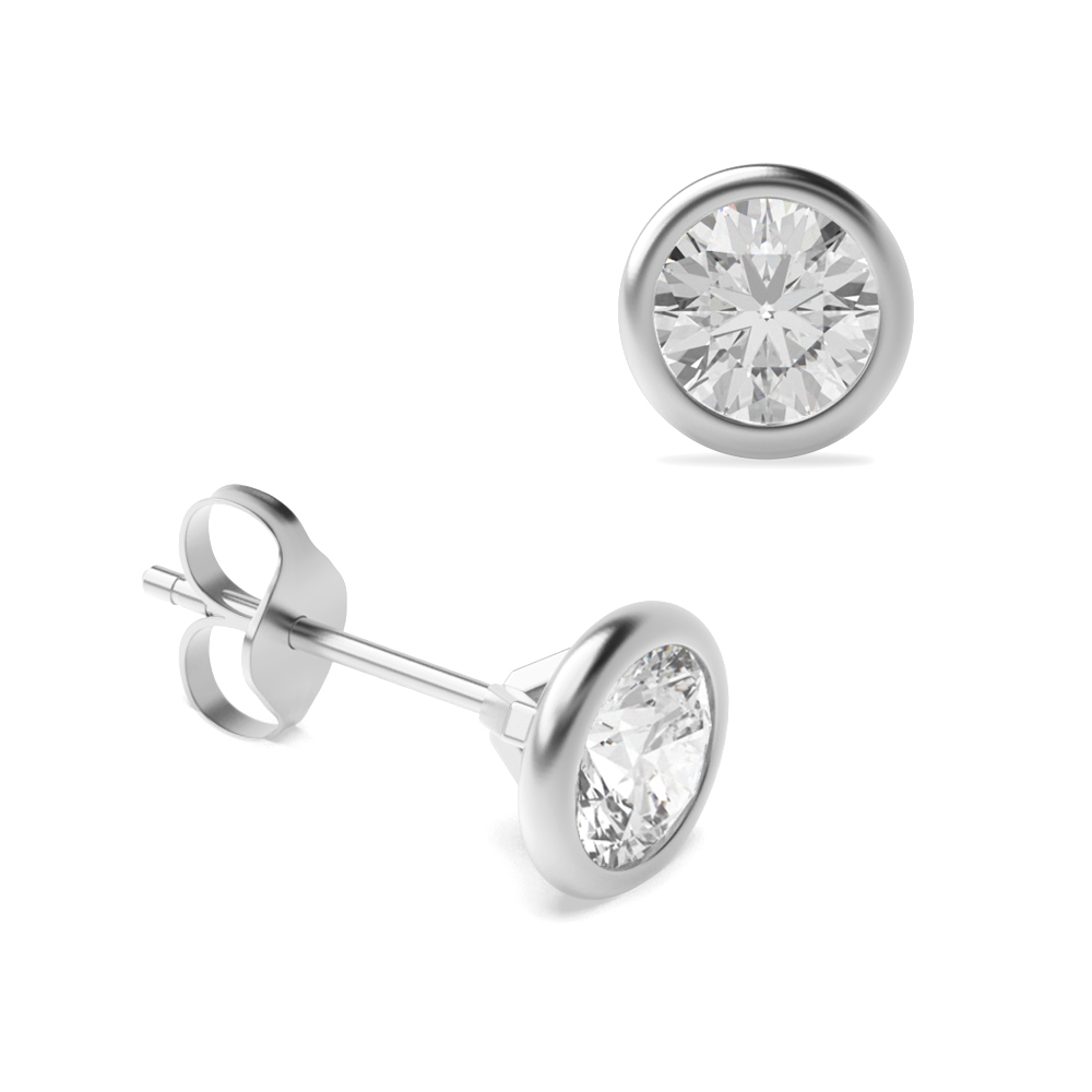 Bezel Setting Round Diamond Stud Earrings