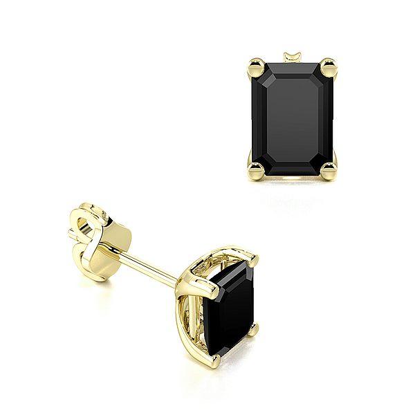 Emerald Shape Black Diamond Stud Earrings