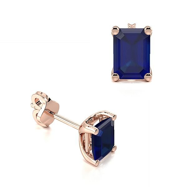 Rectangular Shape Sapphire Gemstone Stud Earrings