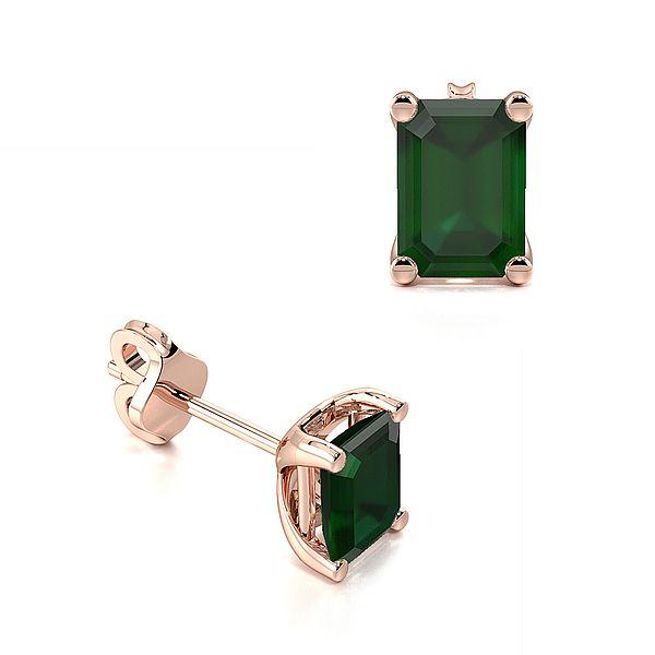 Rectangular Shape Emerald Gemstone Stud Earrings
