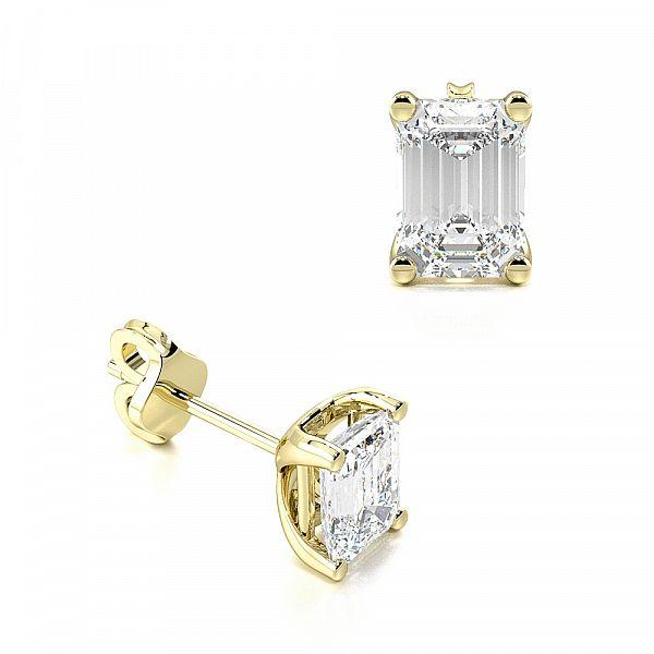 Emerald Shape Moissanite Stud Earrings