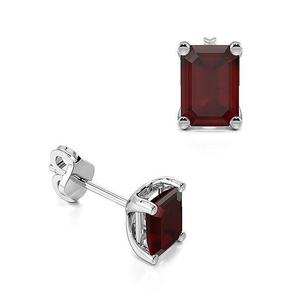 Rectangular Shape Ruby Gemstone Stud Earrings