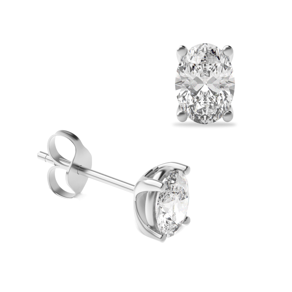 49d5698c04372 Oval Shape Platinum   Gold Diamond Stud Earrings