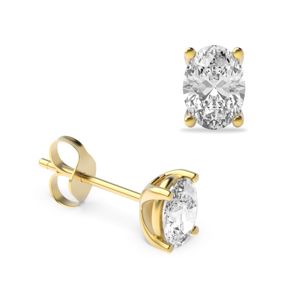Oval Shape Platinum & Gold Diamond Stud Earrings