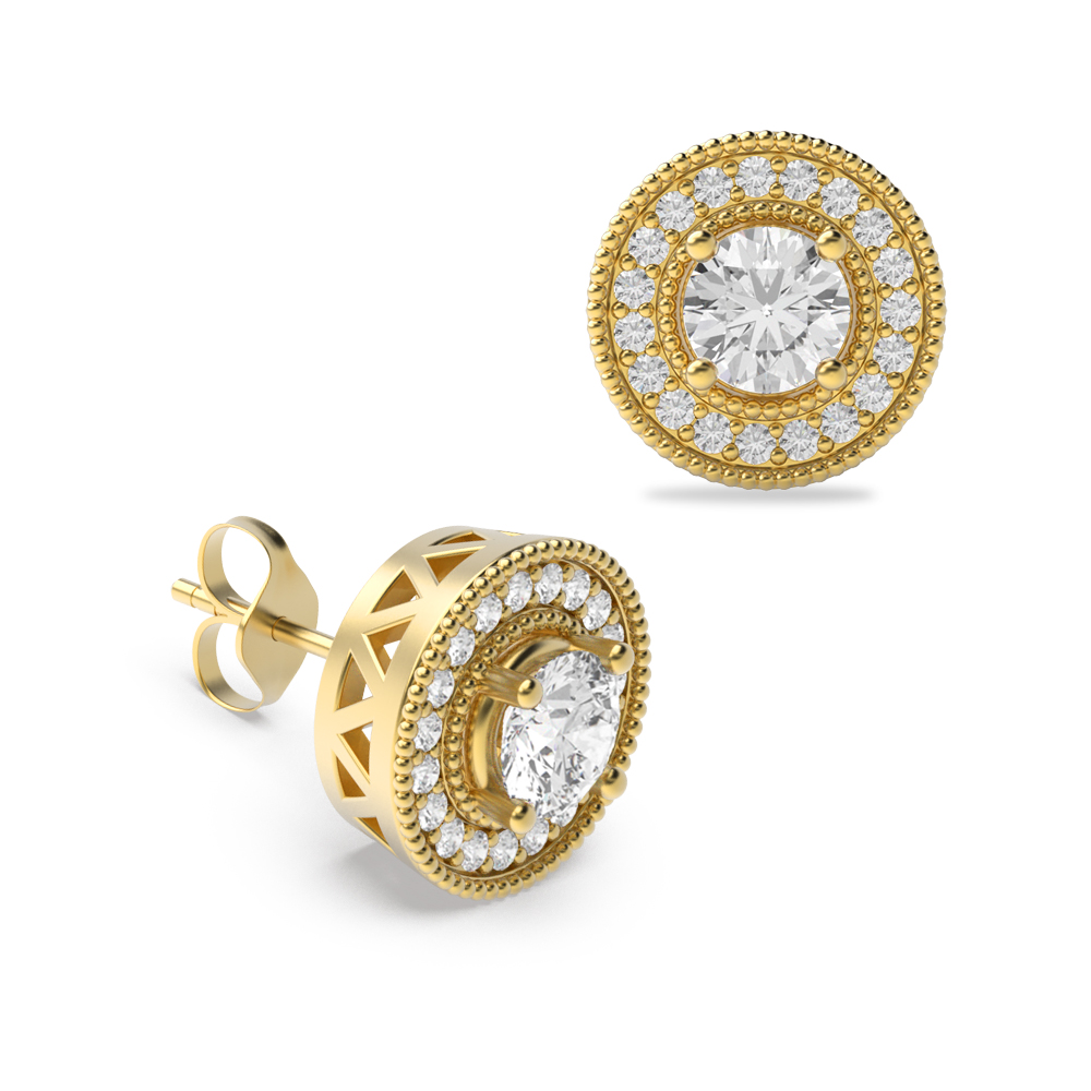 Round Shape Diamond Halo Earrings Available in Gold and Platinum