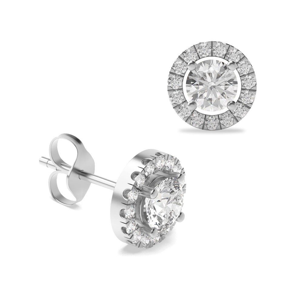 4 Claw Round Diamond White Gold Stud Earring