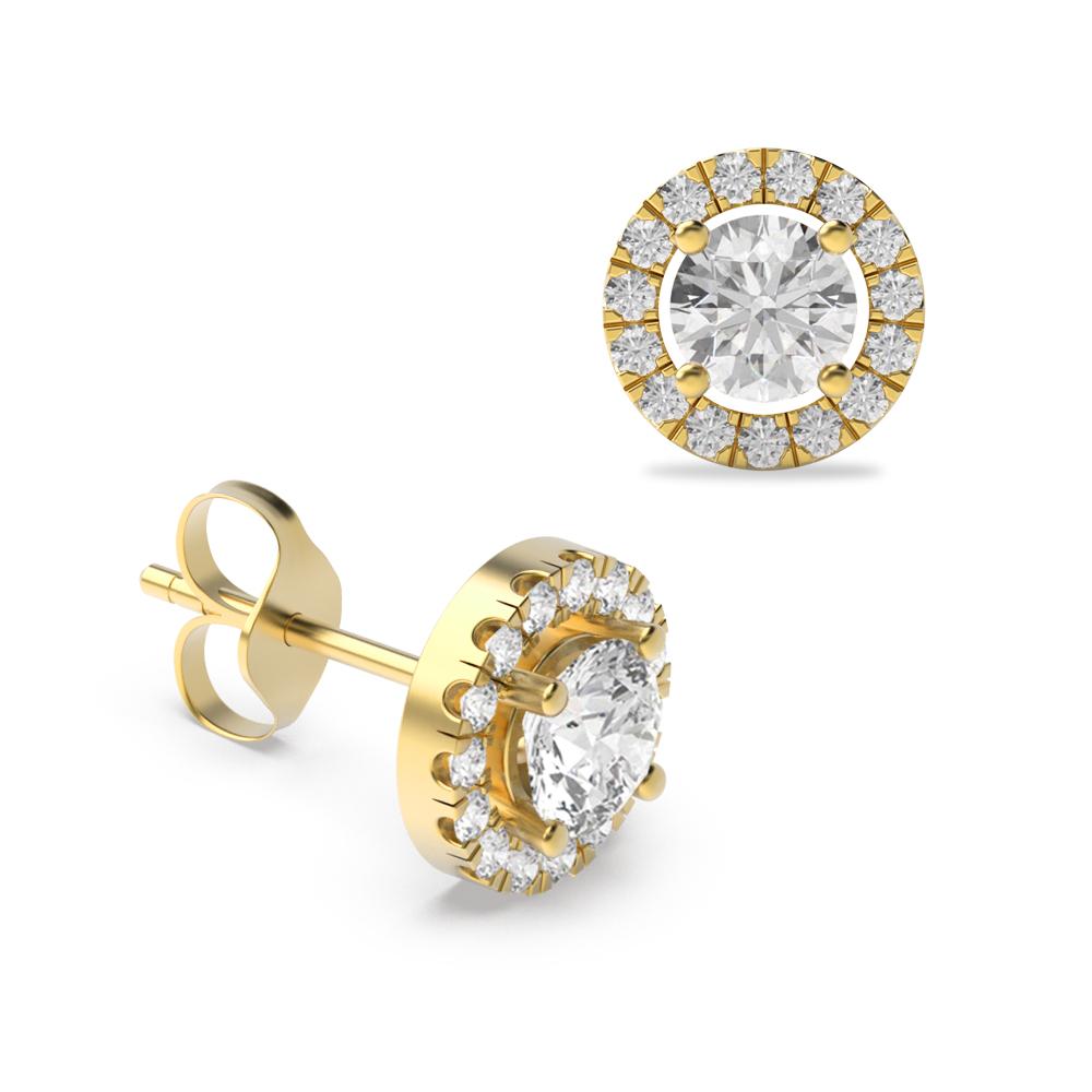 Round Brilliant Classic Style Diamond Halo Earrings