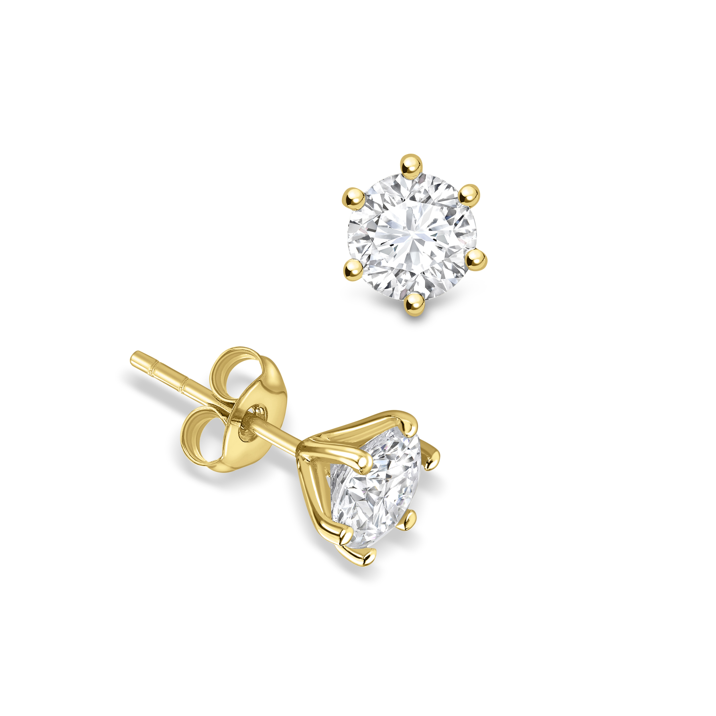 6 Open Prongs Round Shape Stud Diamond Earrings