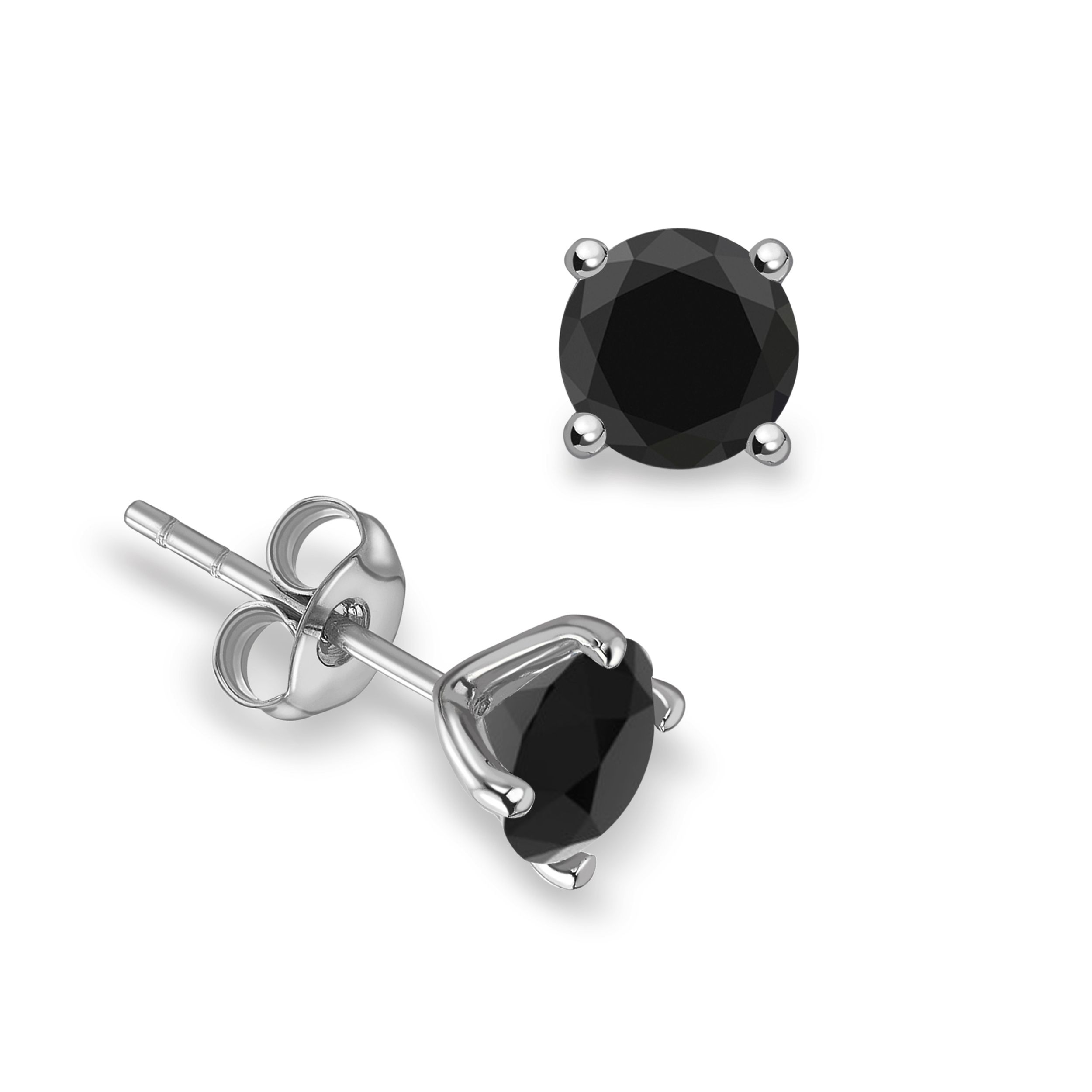 4 Claws Round Stud Black Diamond earrings