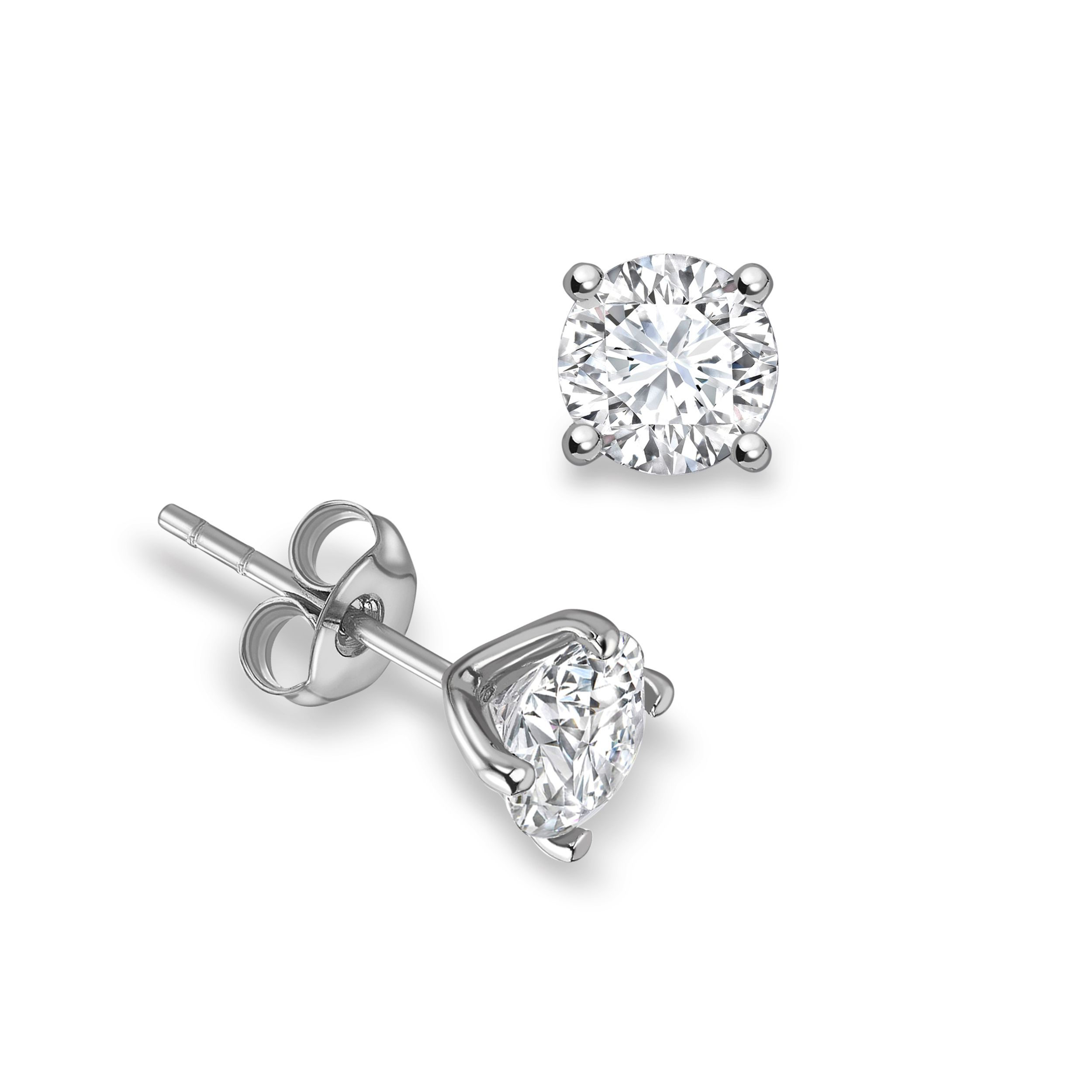 4 Open Prong Round Brilliant Stud Diamond Earrings Available in Rose, Yellow, White Gold and Platinum