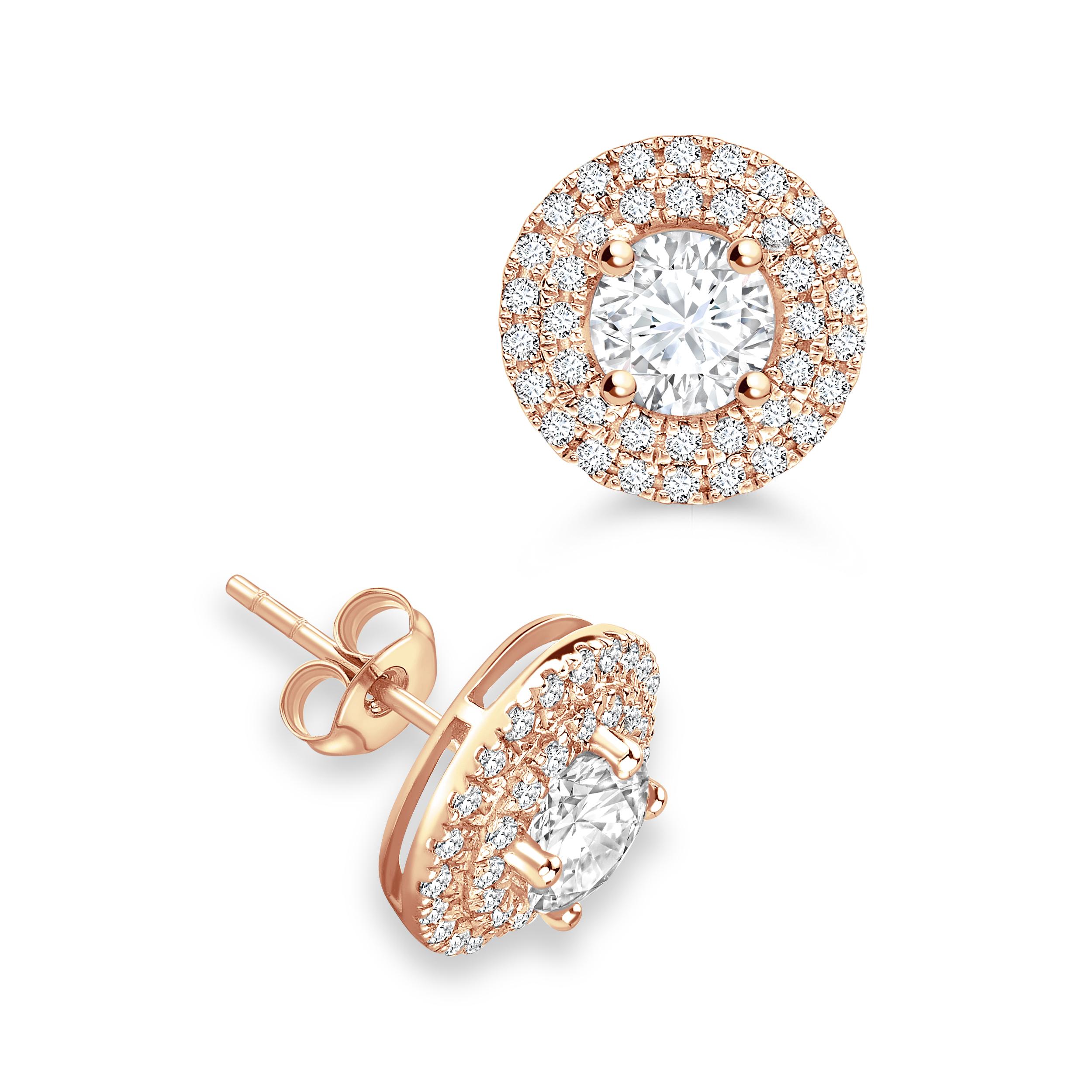 Round Two Raw Circlet Stud Diamond Halo Earrings