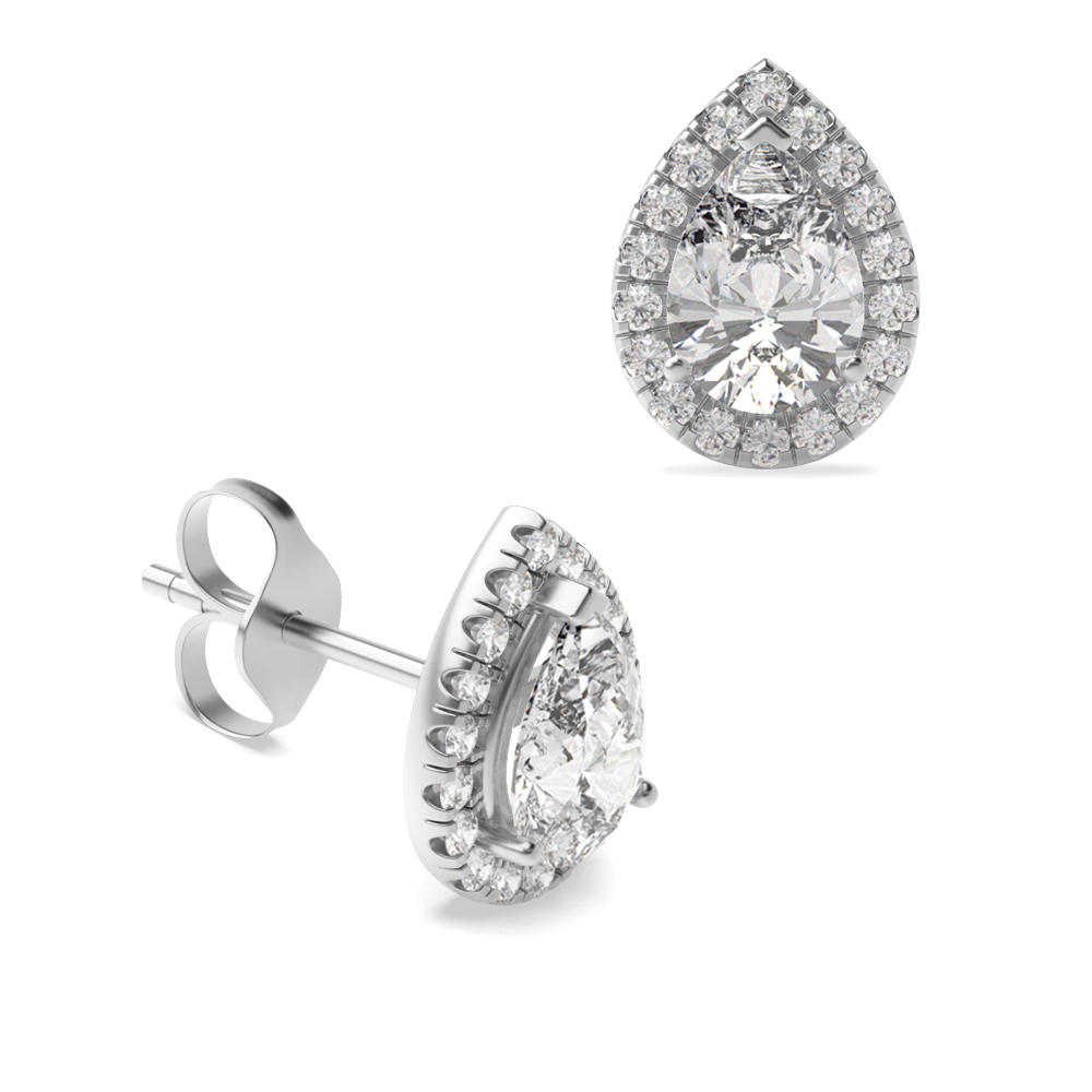 49a491572 Buy Pear Shape Tear Drop Halo Stud Diamond Earrings | Abelini
